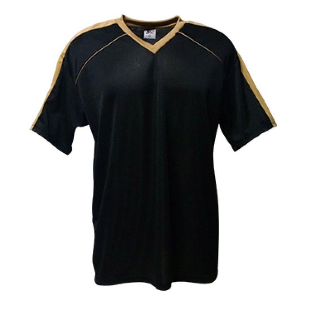 Camisa Camiseta Futebol / Futsal / Volei Arezzo- Preto/Dourado- Adulto - Kanga  - Loja do Competidor