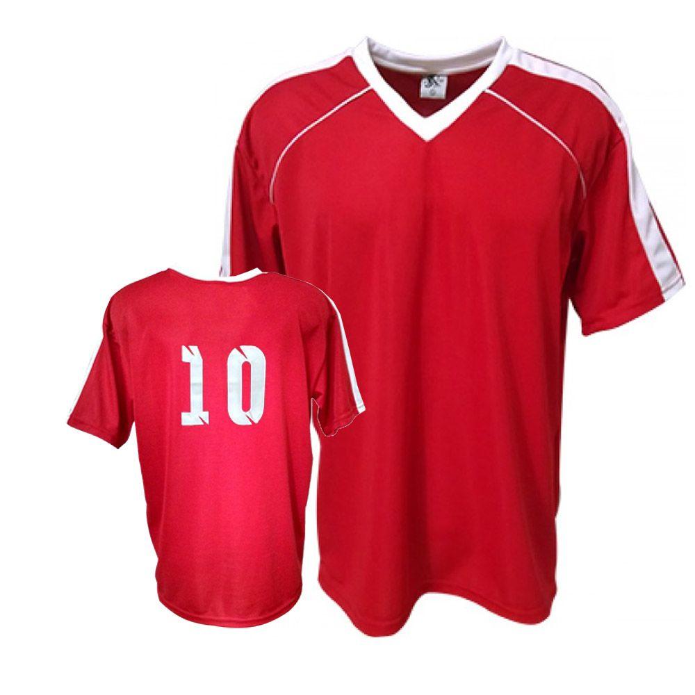 539e636a93 ... Camisa Camiseta Futebol   Futsal   Volei Arezzo- Vermelha Branco- Adulto  - Kanga ...