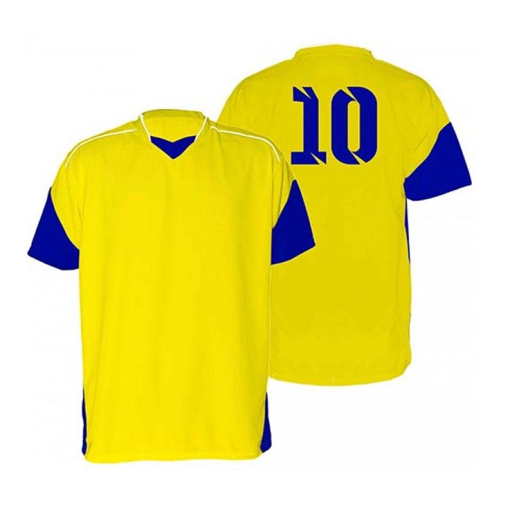 Kit com 18 Camisas Camiseta - Futebol Futsal Volei - Munique - Amarelo/Azul - Adulto - Kanga