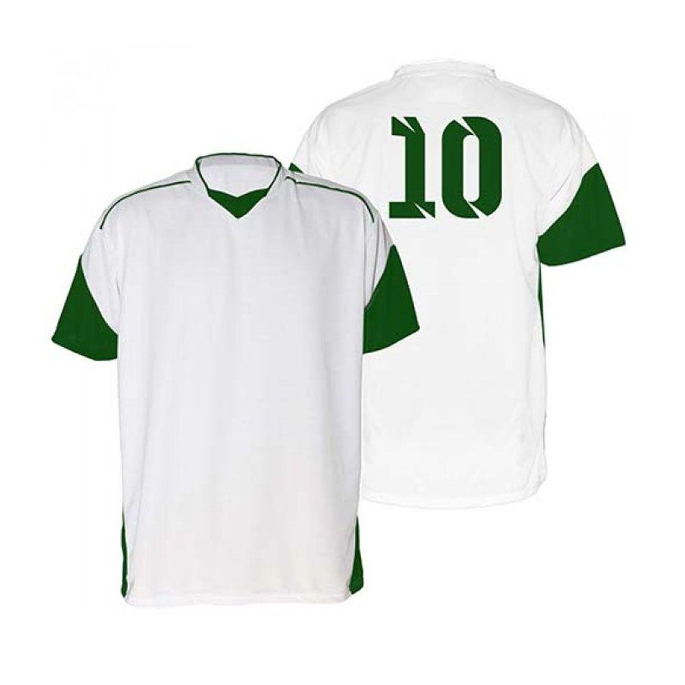 Kit com 18 Camisas Camiseta - Futebol Futsal Volei - Munique - Branco/Verde - Adulto - Kanga