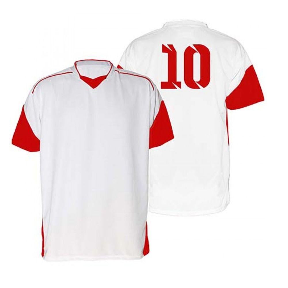 Kit com 18 Camisas Camiseta - Futebol Futsal Volei - Munique - Branca/Verm - Adulto - Kanga