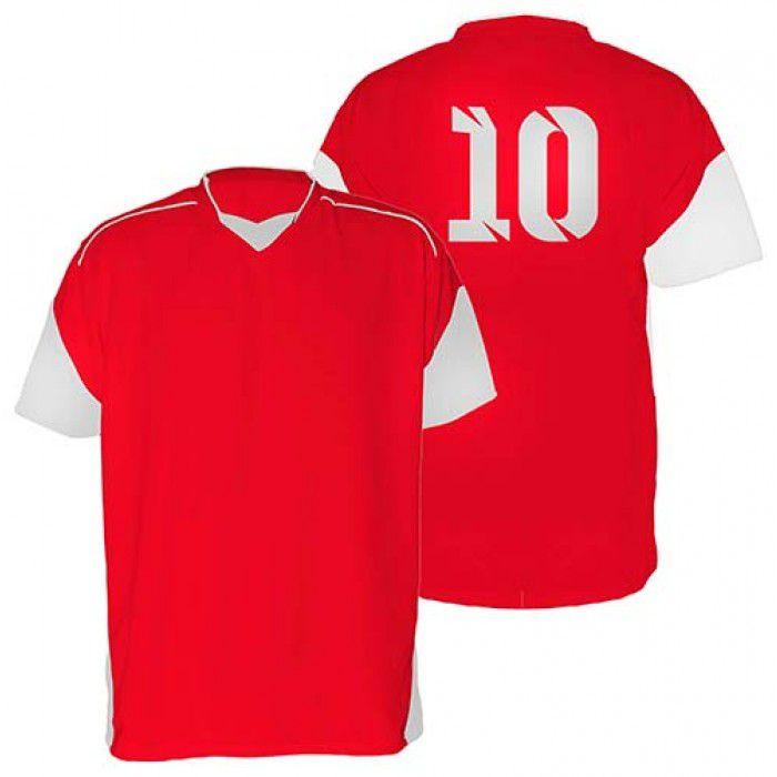 Kit com 18 Camisas Camiseta - Futebol Futsal Volei - Munique - Vermelha/Branca - Adulto - Kanga
