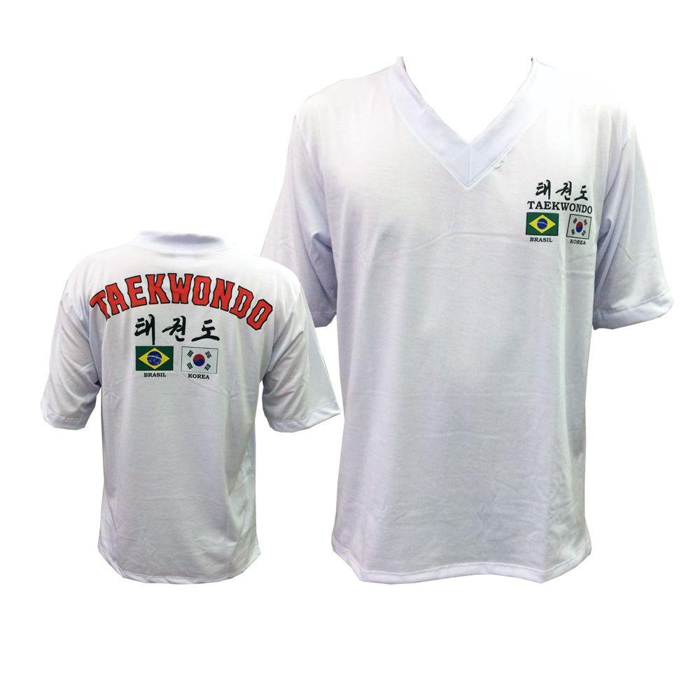 Camiseta Uniforme de Treino - Gola V - Taekwondo Flags - Branco - Toriuk