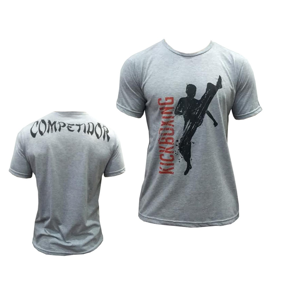 Camisa/Camiseta - High Kick Kickboxing - Cinza/Preto- Duelo Fight .