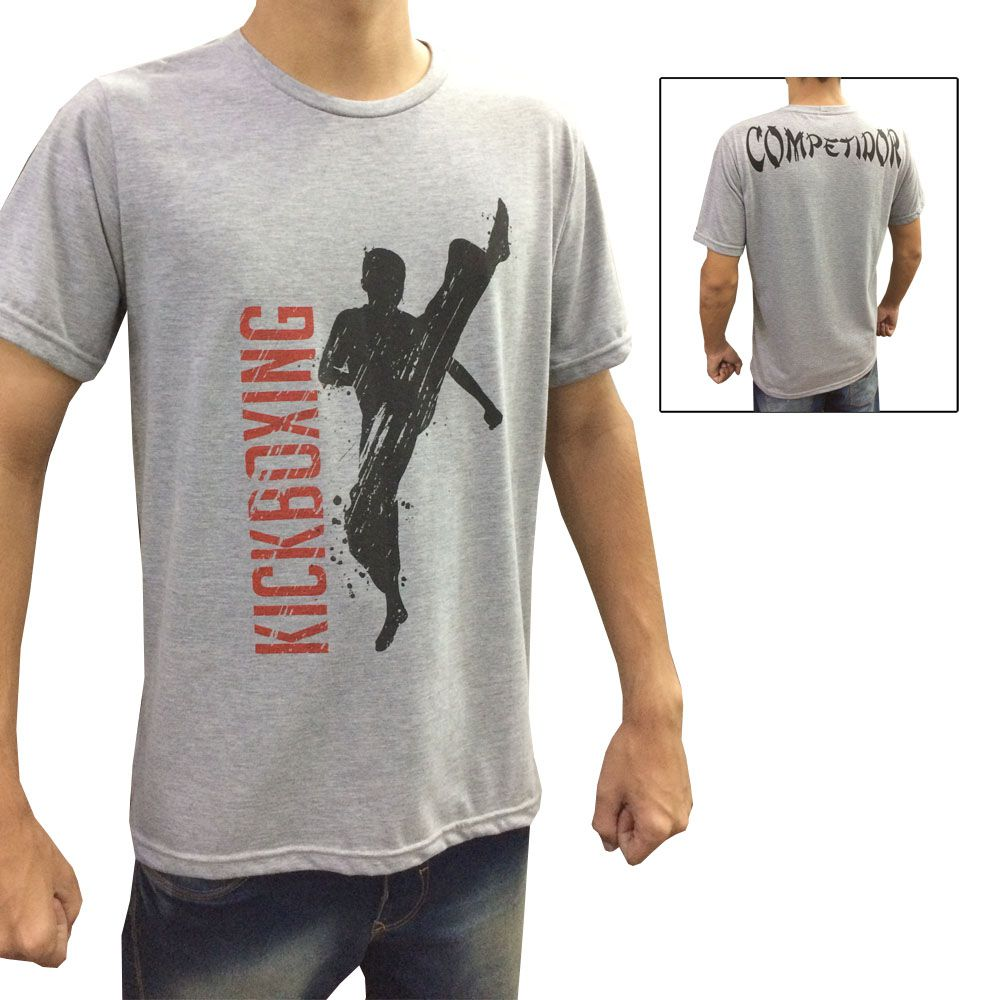 Camisa Camiseta - High Kick Kickboxing - Cinza/Preto- Duelo Fight -