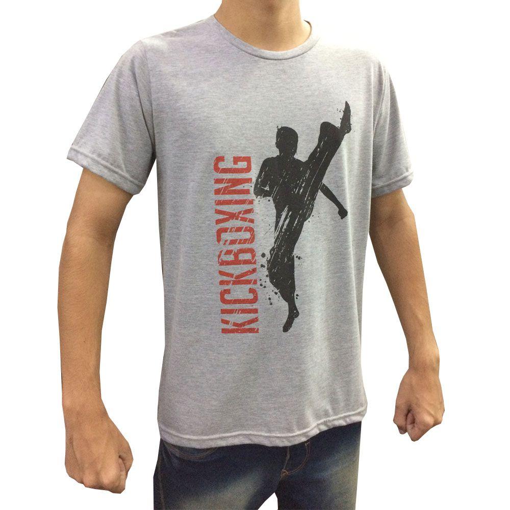 Camisa/Camiseta - High Kick Kickboxing - Cinza/Preto- Duelo Fight .  - Loja do Competidor
