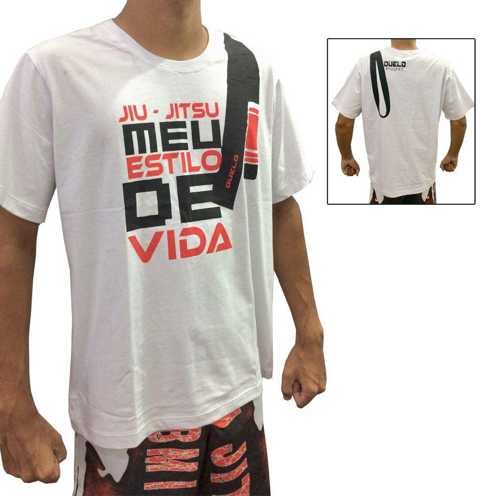 Camisa/Camiseta - Jiu Jitsu - Estilo de Vida - Branca- Duelo Fight