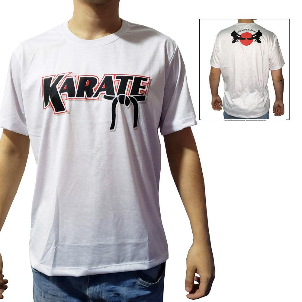 Camisa Camiseta Karate - Kuro Obi - Branco - Duelo Fight  - Loja do Competidor