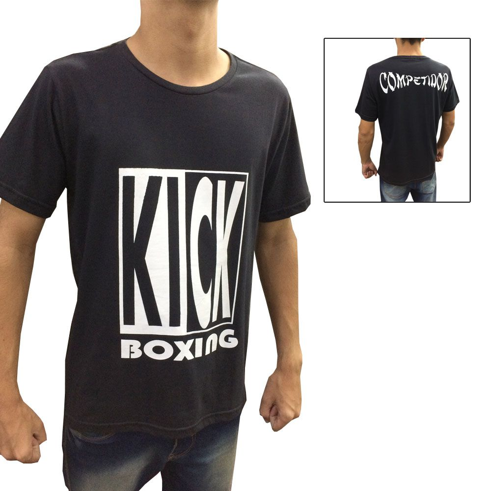 Camisa Camiseta Kickboxing Full Contact - Preto/Branco - Duelo Fight