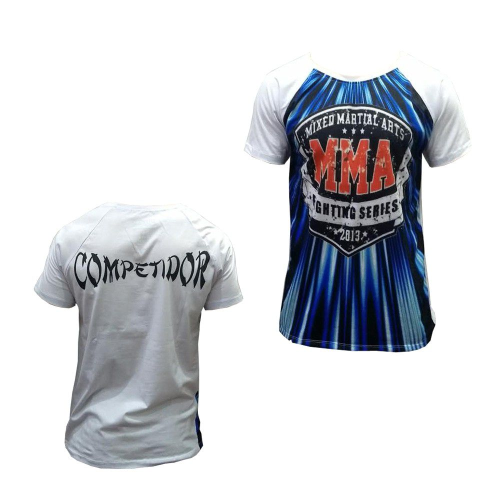 Camisa Camiseta - MMA Fighting Series - Branco/Azul - Duelo Fight -