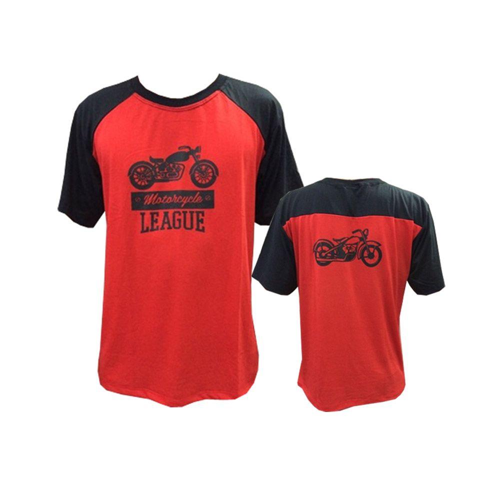 Camisa Camiseta - Motociclista / Motoqueiro - Preto/Vermelho - League- Toriuk