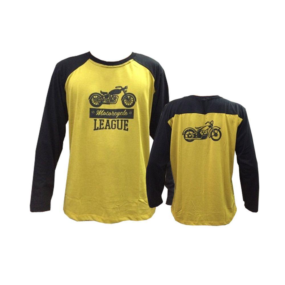 Camisa Camiseta - Motociclista / Motoqueiro - Preto/Amarelo - Manga Longa - League- Toriuk
