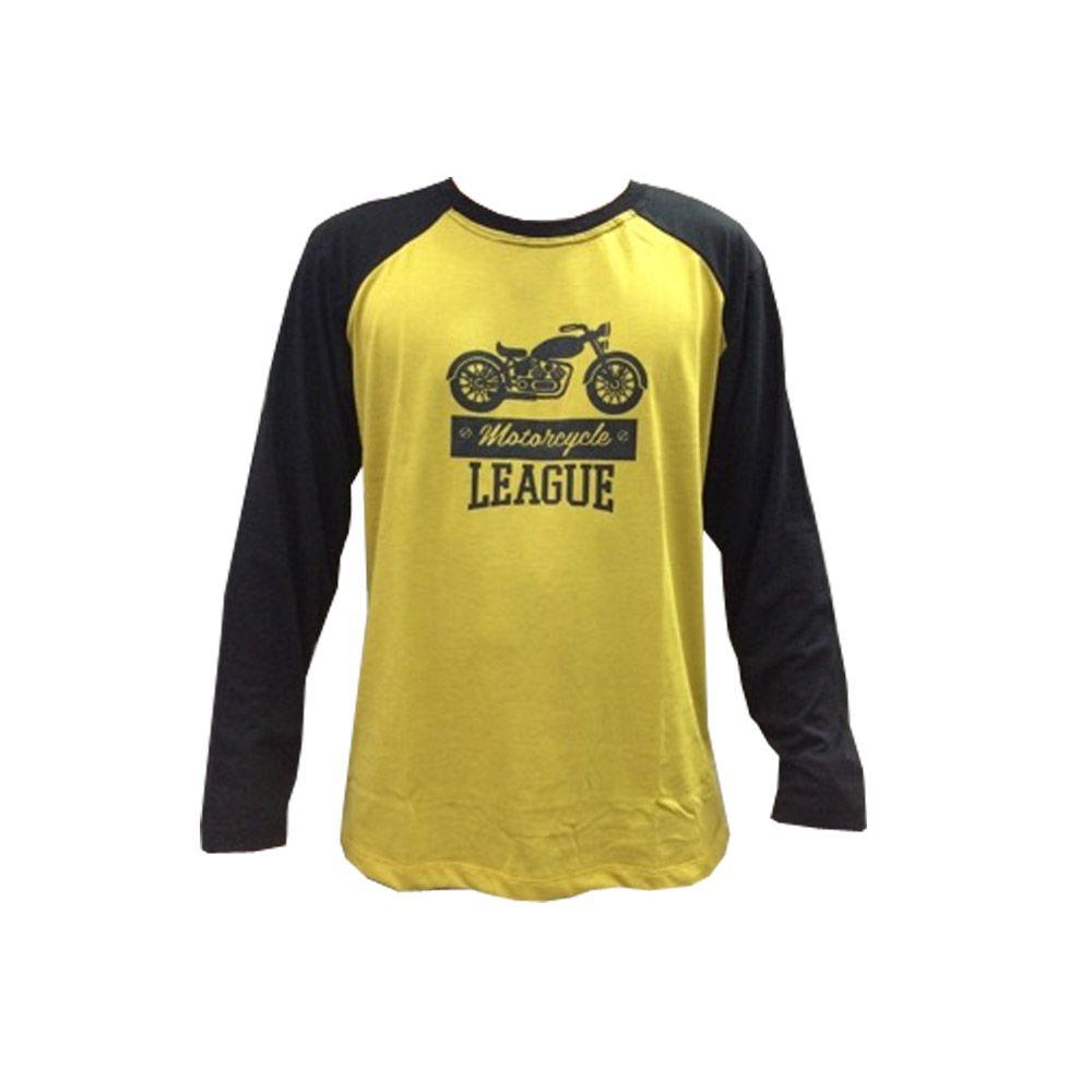 Camisa Camiseta - Motociclista / Motoqueiro - Preto/Amarelo - Manga Longa - League- Toriuk  - Loja do Competidor