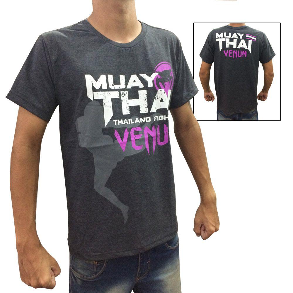Camisa Camiseta Muay Thai - Thailand Fight V2 - Cinza/Roxo - Venum