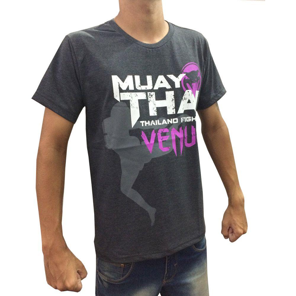 Camisa Camiseta Muay Thai - Thailand Fight V2 - Cinza/Roxo - Venum  - Loja do Competidor
