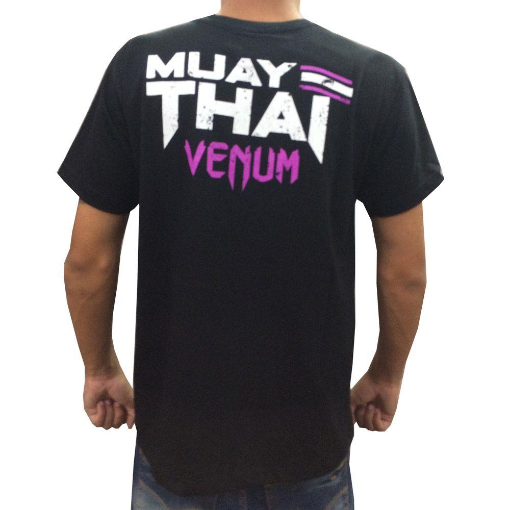 Camisa Camiseta Muay Thai - Thailand Fight V2 - Preto/Roxo - Venum  - Loja do Competidor