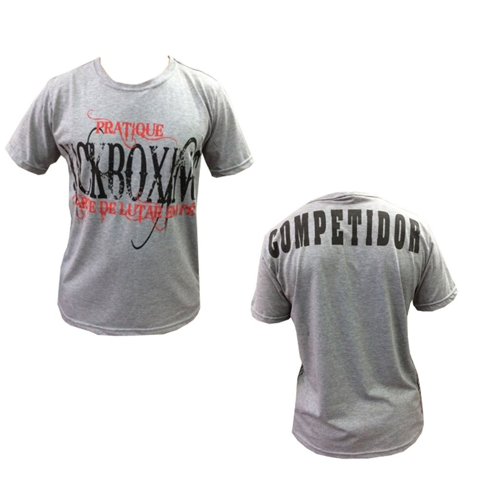 Camisa Camiseta - Pratique Kickboxing - Cinza- Duelo Fight - Loja do Competidor