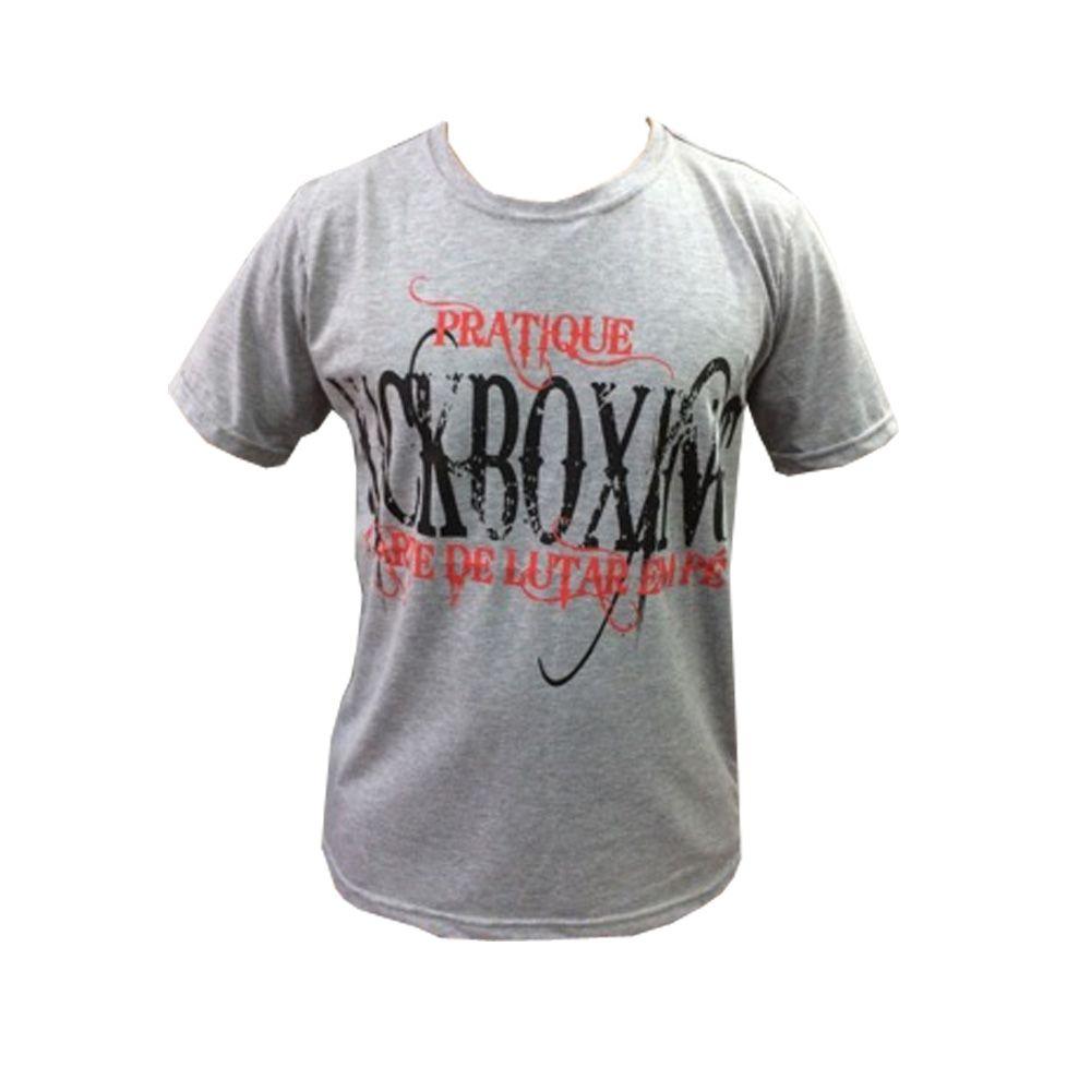 Camisa/Camiseta - Pratique Kickboxing - Cinza- Duelo Fight .  - Loja do Competidor