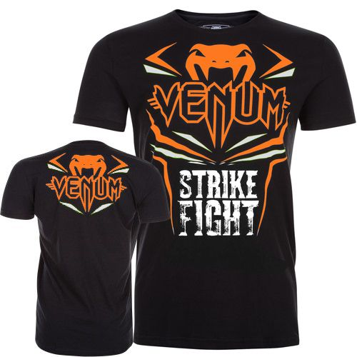 Camisa Camiseta - Strike - Preto/Laranja- Venum Fight