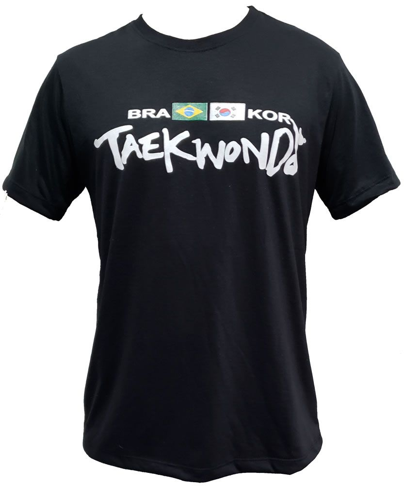 Camisa Camiseta Taekwondo Bra x Kor - Preta - Duelo Fight