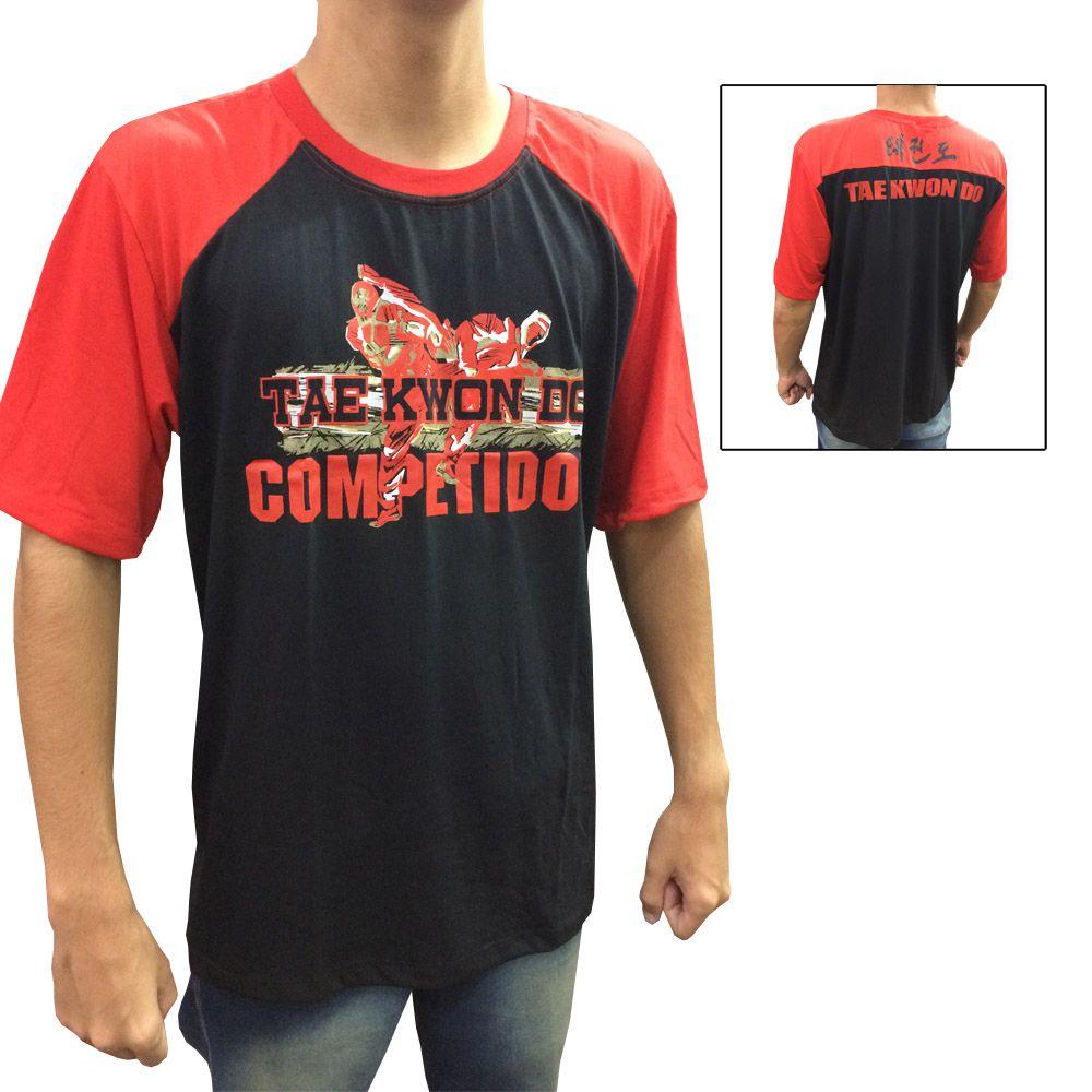 Camisa Camiseta - Taekwondo Competidor V2 - Preto/Verm - Toriuk -