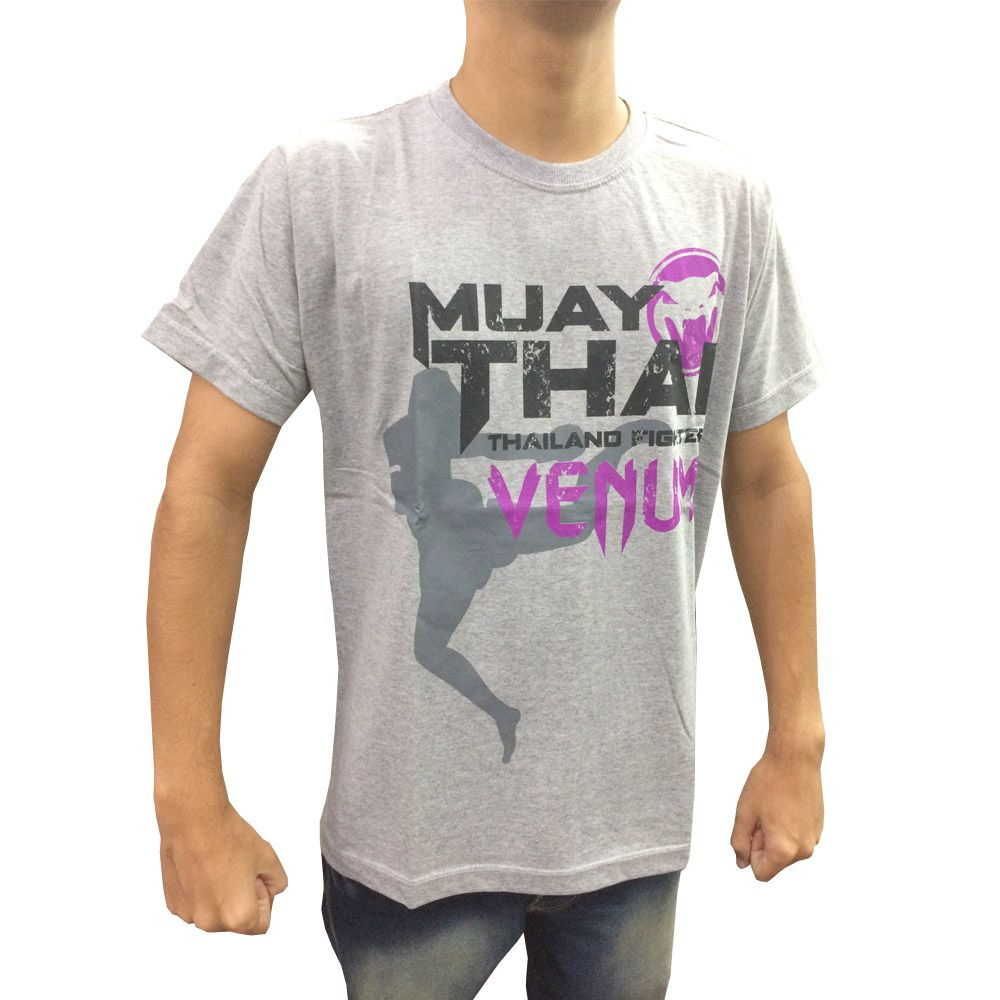 Camisa Camiseta - Thailand Fight - Cinza - Venum -  - Loja do Competidor