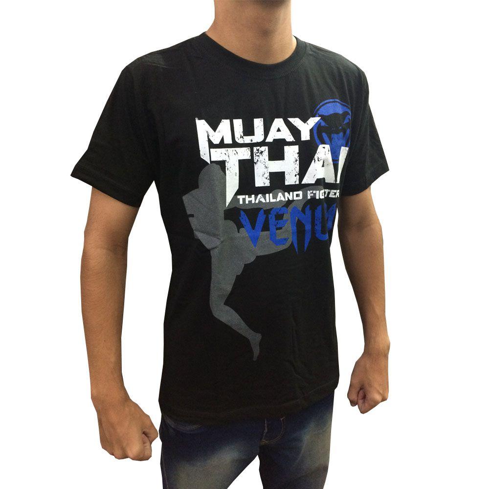 Camisa Camiseta Muay Thai - Thailand Fight V2 - Preto/Azul - Venum -  - Loja do Competidor