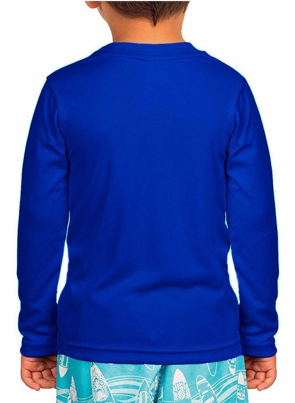 Camisa de Proteção Solar Manga Longa - UV-50+ Praia e Piscina - Azul - Infantil  - Loja do Competidor