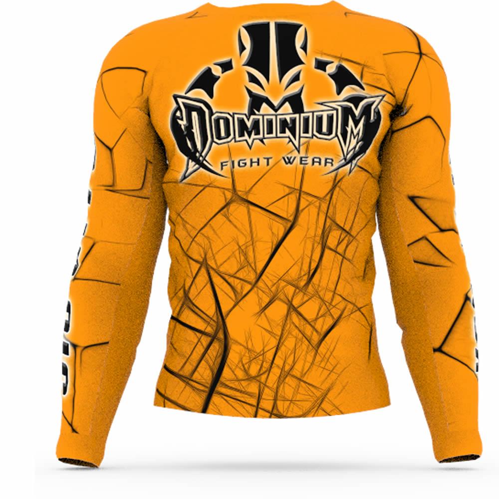 Camisa Rash Guard Compressao Jiu Jitsu ML - Neon Laranja