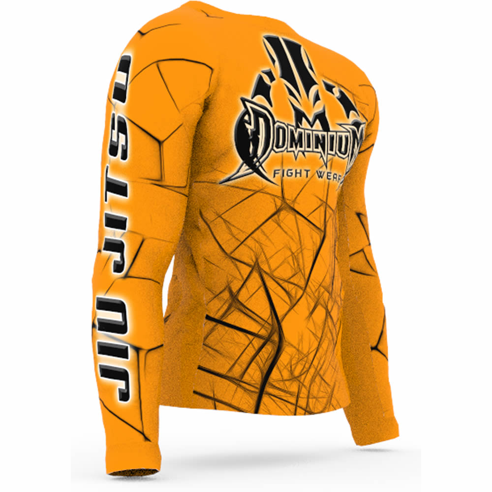 Camisa Rash Guard Compressao Jiu Jitsu ML - Neon Laranja  - Loja do Competidor