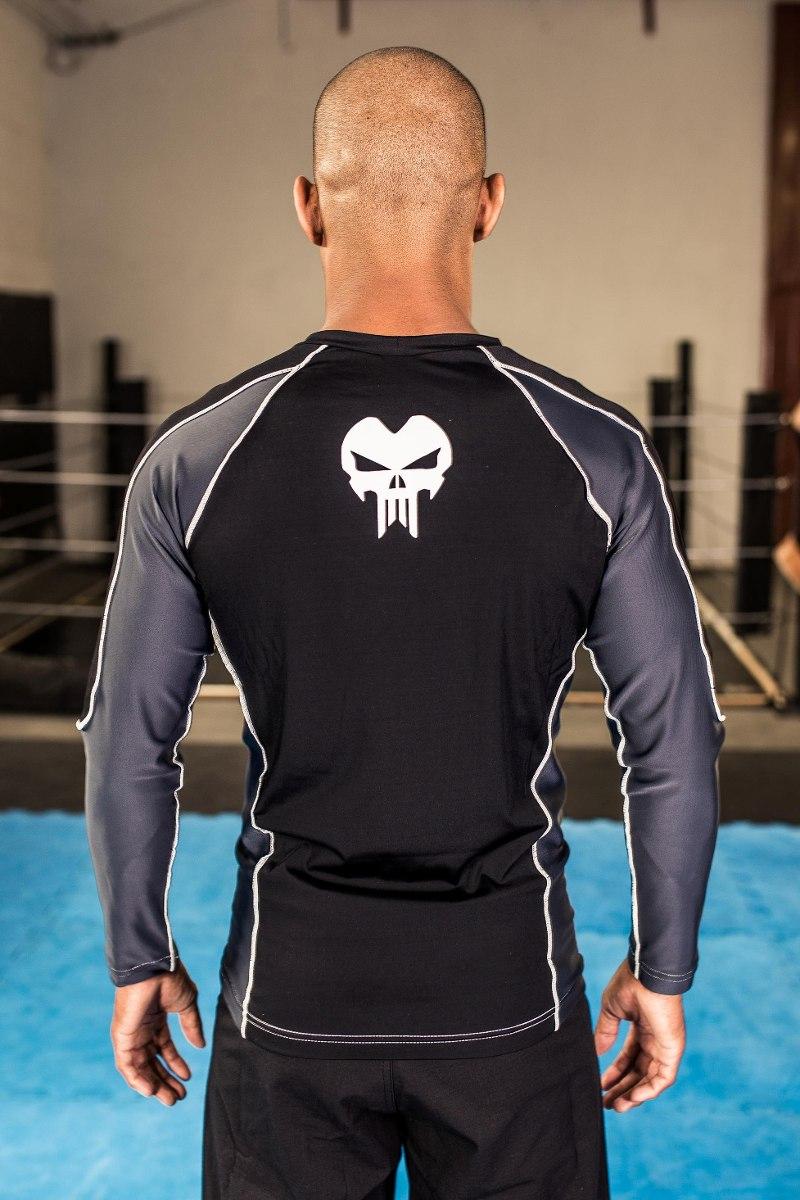 Camisa Rash Guard em Lycra - Skull - Predator - Manga Longa  - Loja do Competidor