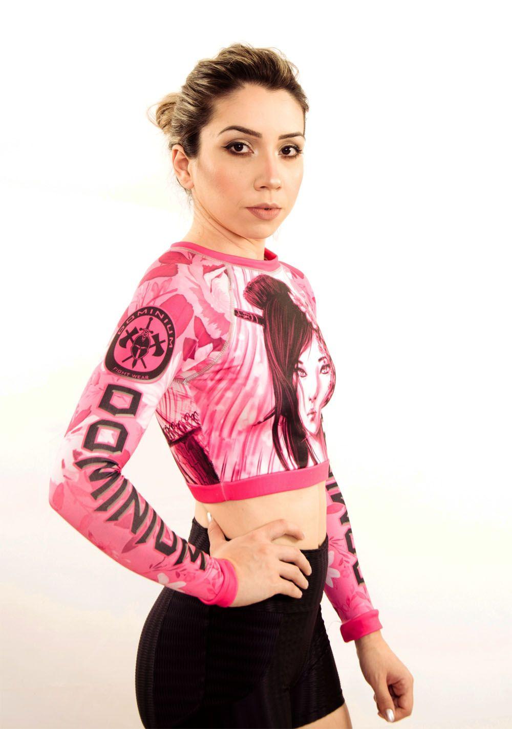 Camisa Rash Guard Feminina Manga Longa Gueixa - Cropped- Dominium  - Loja do Competidor