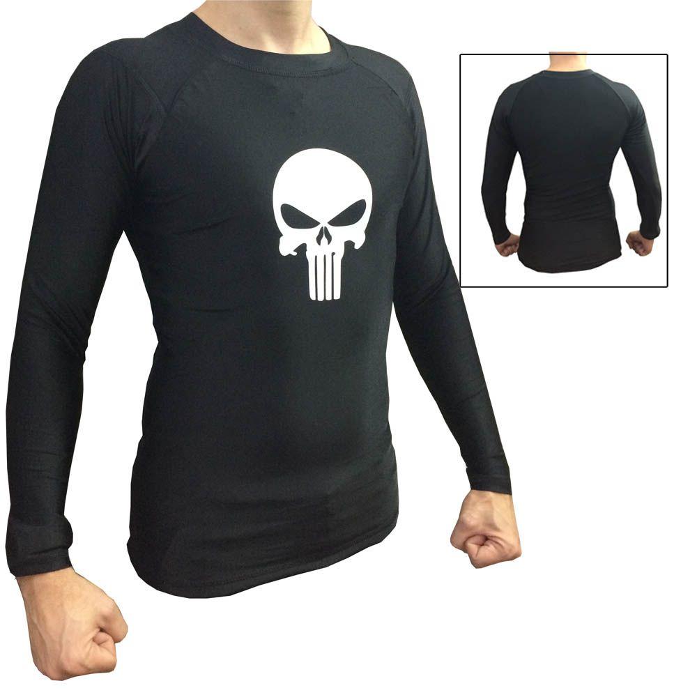 Camisa Rash Guard - Justiceiro - Lisa - Preto - Manga Longa - Uppercut -