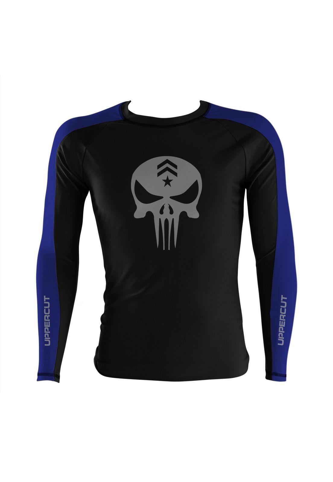 Camisa Rash Guard Justiceiro War R-3 - Preto/Azul - Uppercut