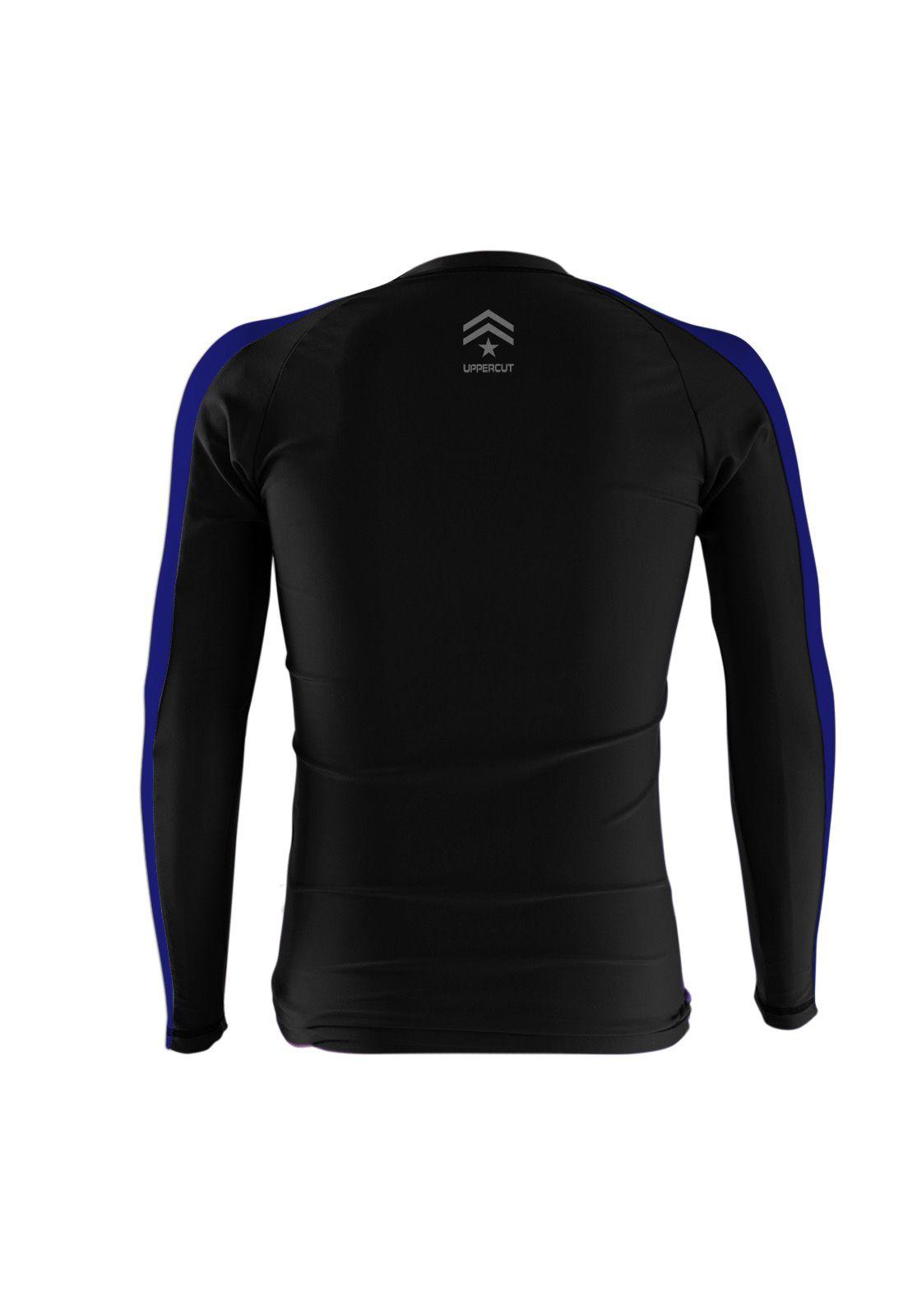 Camisa Rash Guard Justiceiro War R-3 - Preto/Azul - Uppercut  - Loja do Competidor