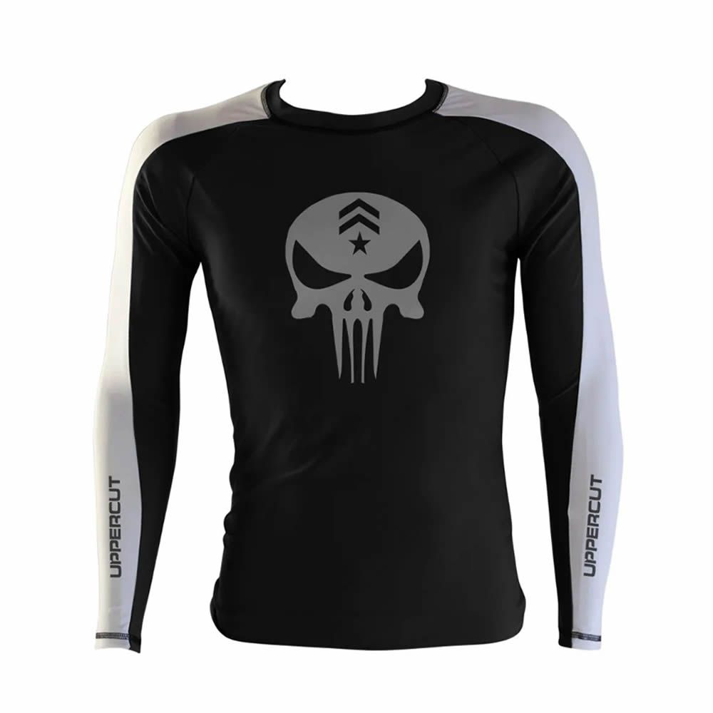 Camisa Rash Guard Justiceiro War R-1 - Preto/Branca - Uppercut  - Loja do Competidor