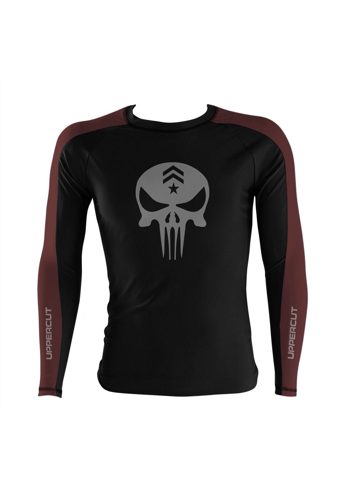 Camisa Rash Guard Justiceiro War R-4 - Preto/Marron - Uppercut