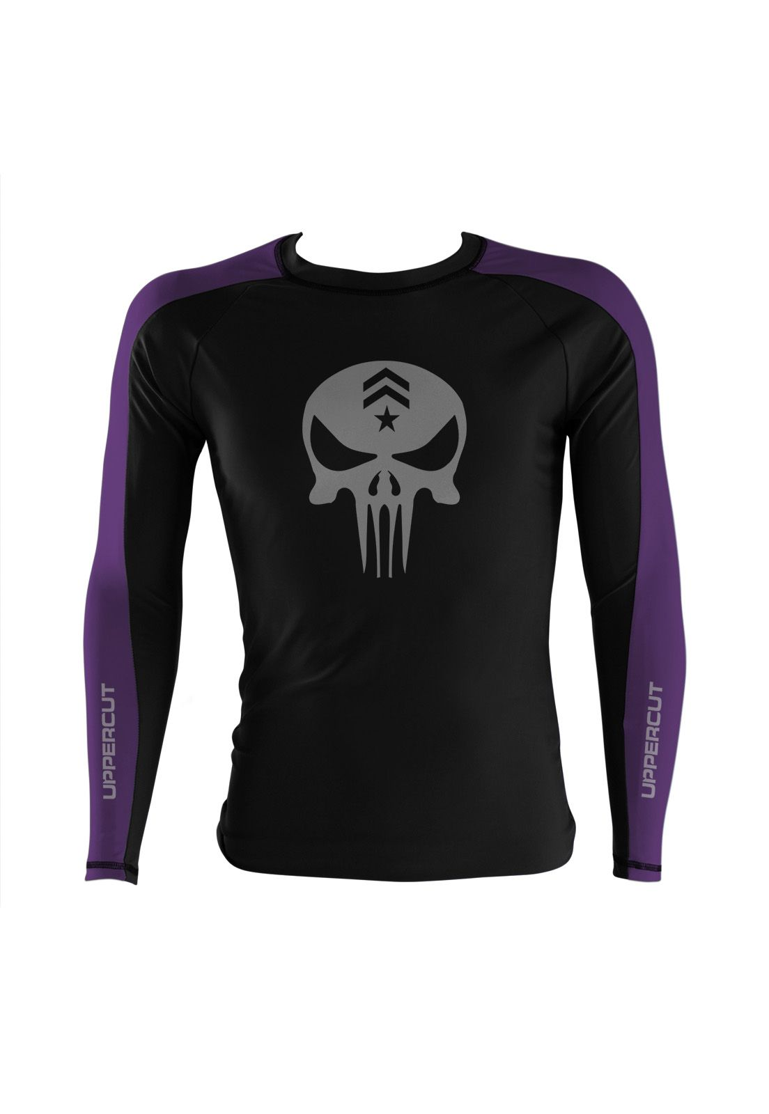 Camisa Rash Guard Justiceiro War R-3 - Preto/Roxa - Uppercut  - Loja do Competidor