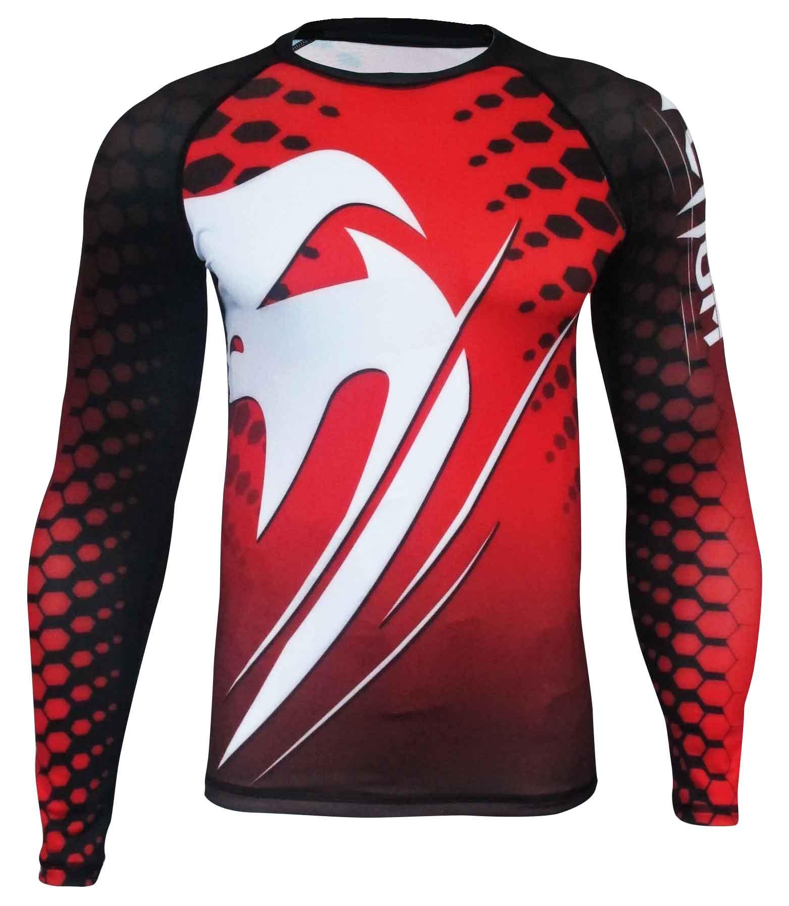 Camisa Rash Guard/ Lycra-  Amazônia Brasil - Manga Longa - Vermelho - Venum  - Loja do Competidor
