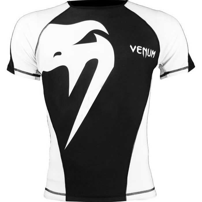 Camisa Rash Guard/ Lycra-  Giant - Manga Curta- Preto/Branco-  Venum