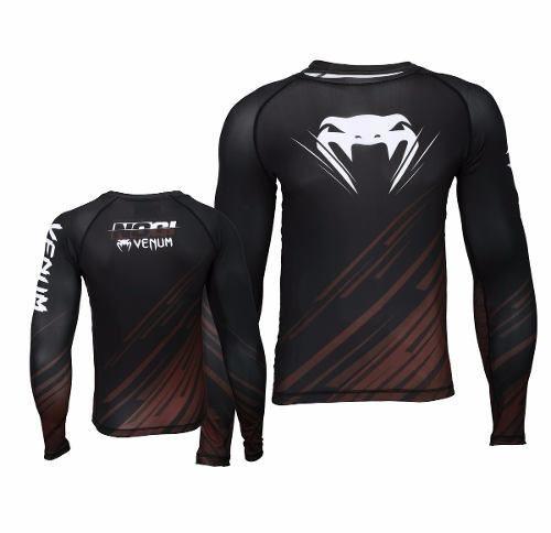 Camisa Rash Guard/ Lycra-  No Gi IBJJF 2.0 - Manga Longa - Preto/Marrom-  Venum
