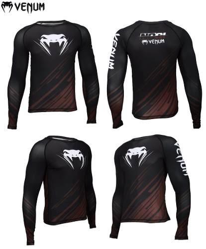 Camisa Rash Guard Lycra No Gi IBJJF 2.0 - Manga Longa - Preto/Marrom -  Venum -  - Loja do Competidor