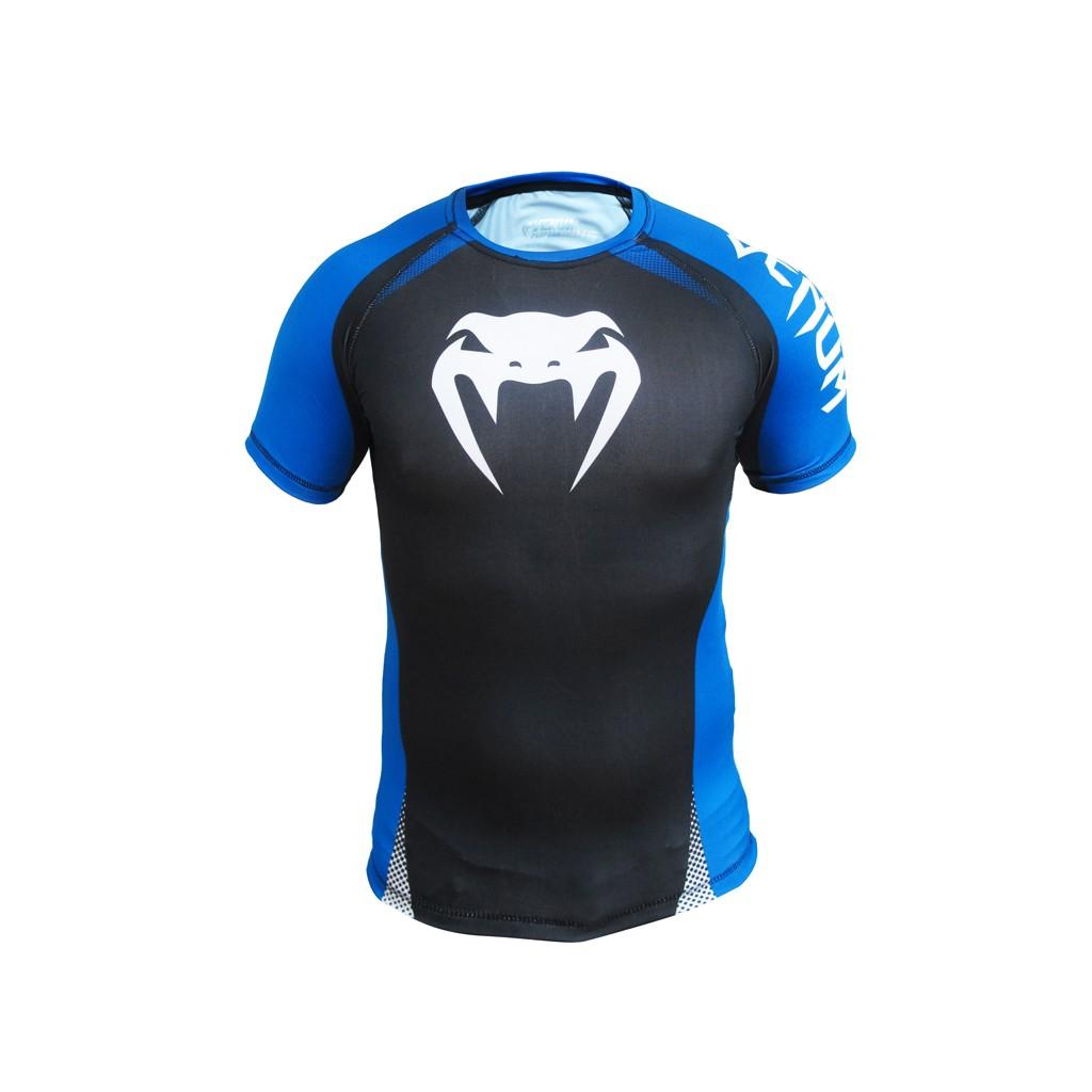 Camisa Rash Guard/ Lycra-  No Gi IBJJF Approved - Manga Curta- Preto/Azul-  Venum