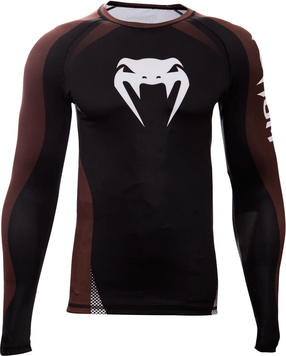 Camisa Rash Guard Lycra No Gi IBJJF Approved - Manga Longa - Preto/Marrom -  Venum -