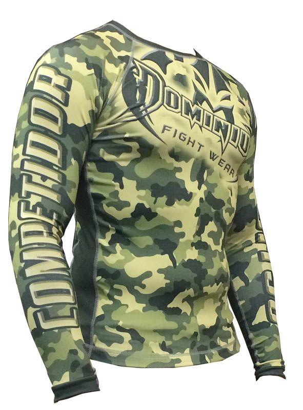 Camisa Rash Guard - Manga Longa - Exército V1- Camuflado Verde - 2810 - Dominium