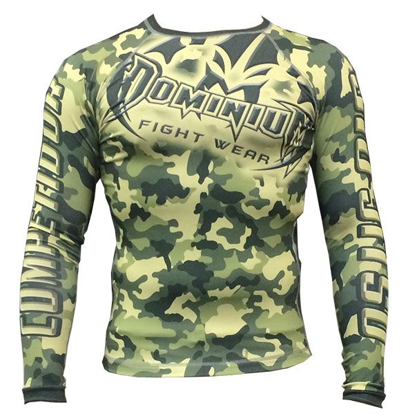 Camisa Rash Guard - Manga Longa - Exército V1- Camuflado Verde - 2810 - Dominium -  - Loja do Competidor