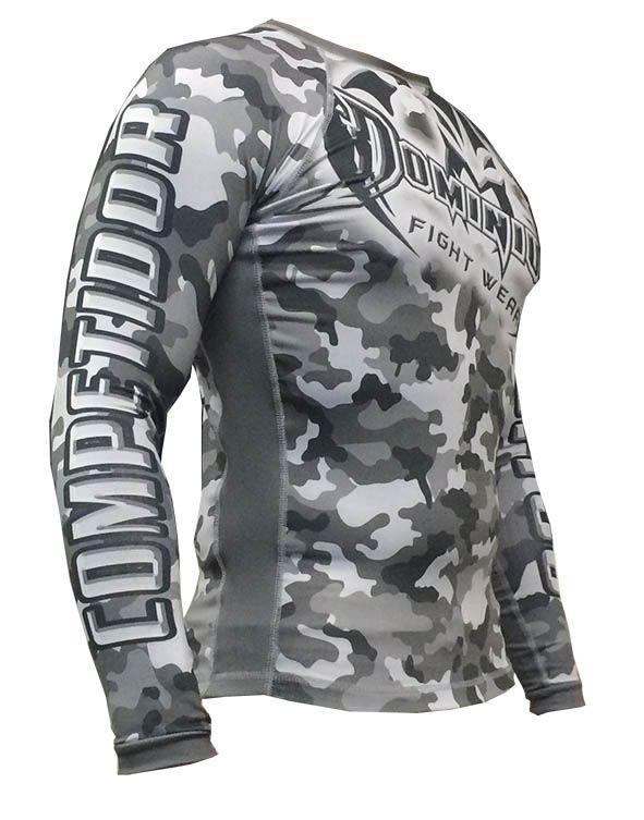 Camisa Rash Guard - Manga Longa - Exército V2- Camuflado Cinza - 2810 - Dominium