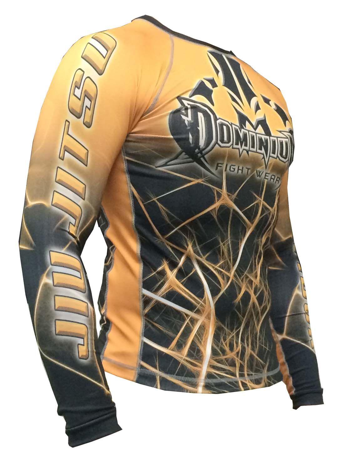 Camisa Rash Guard - Manga Longa - Preto/Laranja - Jiu Jitsu Competidor - 2797LA- Dominium