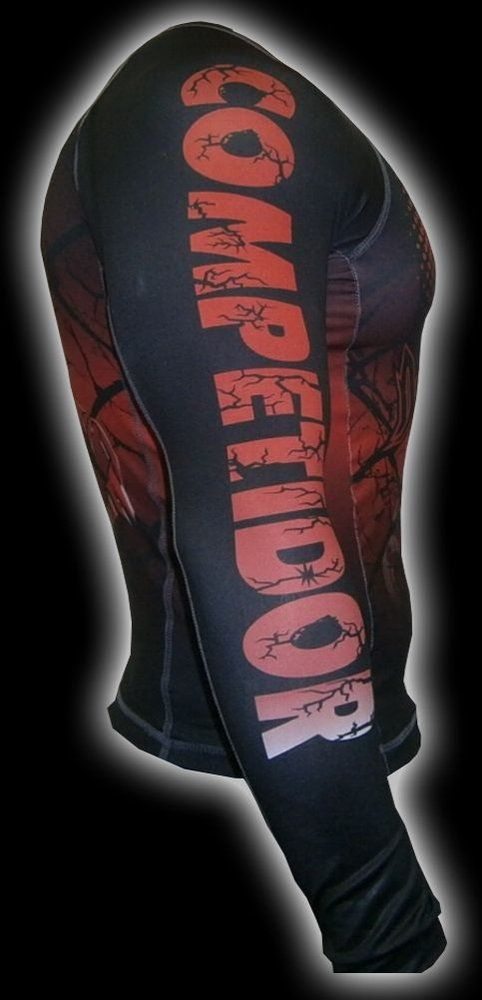 Camisa Rash Guard - Manga Longa - Preto/Vermelho- 2197 - Dominium .  - Loja do Competidor