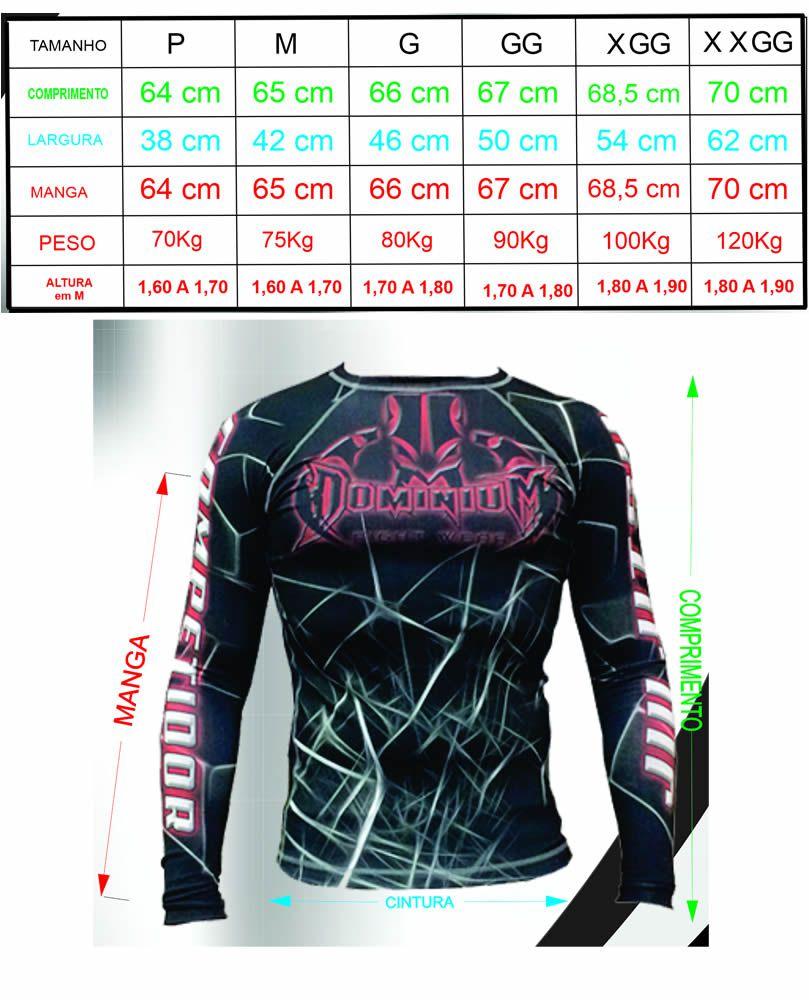 Camisa Rash Guard - Manga Longa - Preto/Vermelho - 2197 - Dominium -  - Loja do Competidor